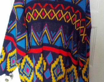 Jordache Woman 80s sweater southwest pattern knit acrylic large xl boho grunge