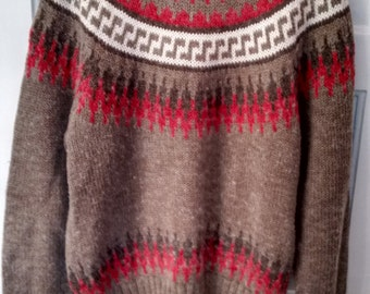 mondo geometric aztec southwest Jumper sweater 1980s men grunge large earthtones Peter England
