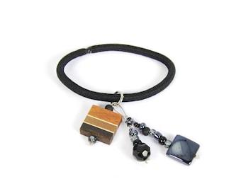Hair elastic / wood /  black beads / exotic wood / hair accessories