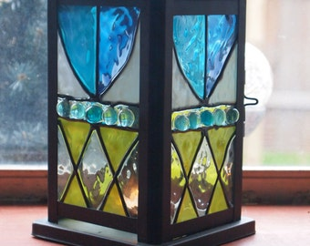 Faux stained glass candle holder, tealight lantern-3- Free USA shipping