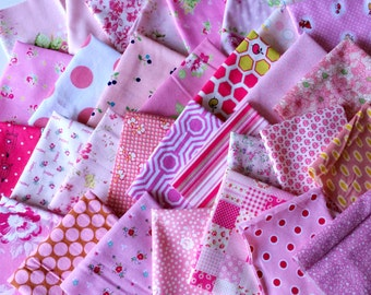 Designer Fabric SCRAP PACK in Pink, 20 pieces