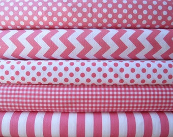 Hot Pink Fabric Sampler Bundle - Fat Quarter Set of Small Chevron, Dots, Gingham and Stripes from Riley Blake Designs