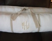 Baby bedding nuetral Crib set White and taupe linen DEPOSIT