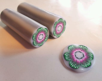 Polymer Clay Cane, Green, Pink and White Flower, Raw, Unbaked Clay