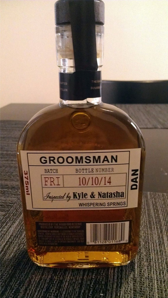Custom wedding groomsman liquor labels for by idoartsyweddings for Groomsman liquor bottle labels