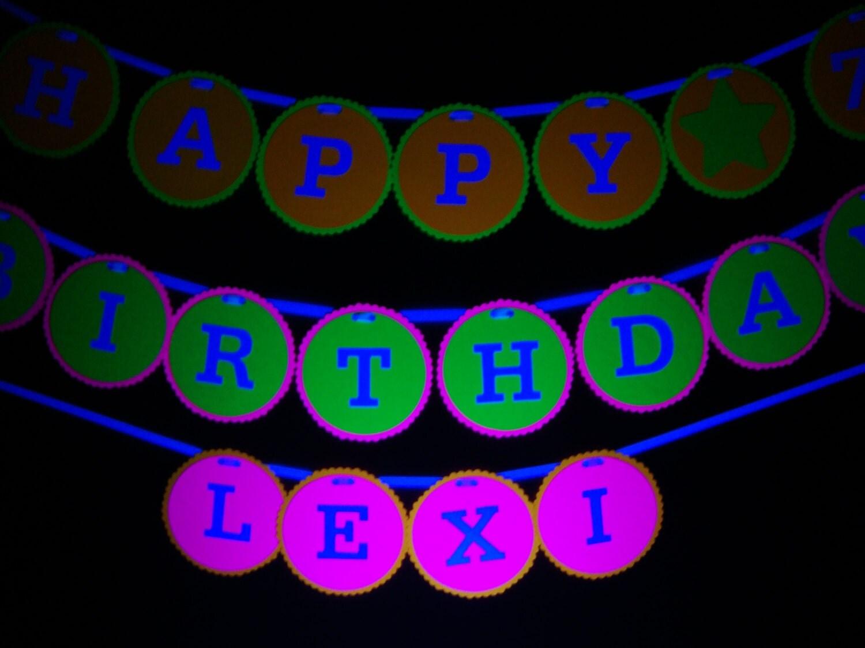 black light party happy birthday banner