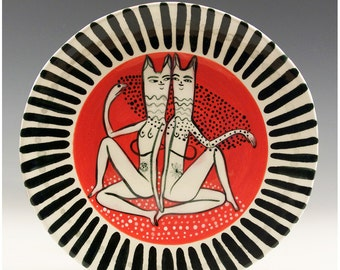 A Round Original Painting by Jenny Mendes on a Round Ceramic Dessert Plate - Sexy Kittens