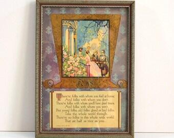 Buzza Motto Framed Print, 1925, The Buzza Company, Poem, Verse, Folks