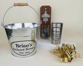 Personalized Gift Set, Groomsmen Gift, Craft Beer Gift - Capcatcher Bottle Opener, Stainless Steel 'Pint' Cup, Galvanized Metal Beer Bucket