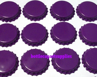 100  NEW  DARK PURPLE Double Sided Painted Color Bottle Caps Crowns Linerless.  No plastic liners inside