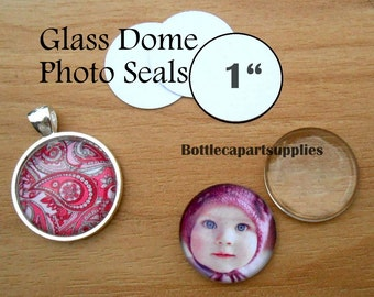 """50 1"""" CLEAR Round  Adhesive Easy INSTANT Seals for Glass Domes, Photo Jewelry.  Alternative to Resin and Glaze."""