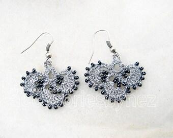 Beadwork Crochet Earrings, Gray Earrings, Dangle Earrings,Shamrock Earrings, Beaded Crochet Earrings