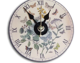 Illustrated Mini Wall Clock featuring vintage botanical butterfly illustration