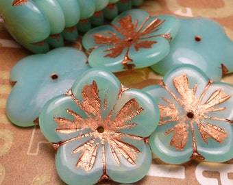 LARGE Blue Opal with Copper Glass Flower Bead 23mm - 2pc