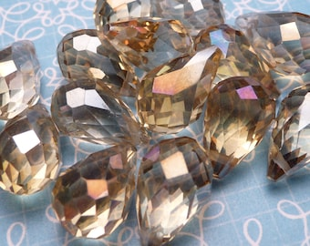 Citrine AB Faceted Crystal Teardrop Beads 13x9mm - 6pc