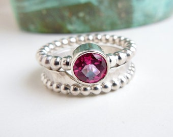 Wedding Ring Set, Pink Topaz, Beaded Band, Faceted Gemstone, Engagement Jewelry