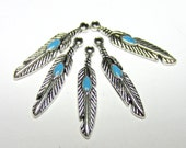 18 Feather charms antique silver tribal pendants turquoise enamel 28mm 81281 hippie charms