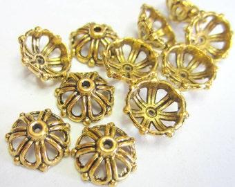 20 Antique gold bead caps  filigree 13mm x 13mm  Diy jewelry supplies 0076-AG handmade jewelry (X7)