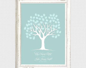 white wedding fingerprint guestbook tree - printable file - thumbprint tree baby shower bridal shower winter guest book alternative drawn