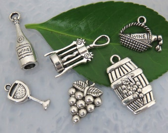6 WINE THEME Charms - Assorted, Each One Different - Antique Silver - Collection #1 - Grapes, Wine Glass, Bottle, Barrel, Corkscrew, Basket