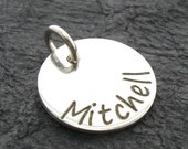 "Personalized 9/16"" name charm - Engraved Charm - Personalized Charm - Name Charm - Silver Jewelry - silver name charm"