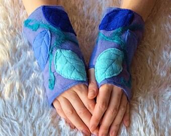 Light Blue Leafy Fairy Arm Warmers, Merino Wool Felted Fleece Fingerless Gloves - Woodland Elven Clothing Accessories