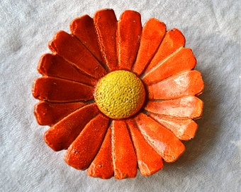 Vintage Cast Metal Orange Daisy - Made in Japan