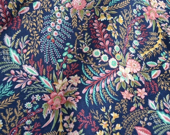 Vintage Fabric  - Pink and Blue Vine Flowers on Navy - 44 x 48