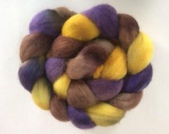 """Hand-dyed Corriedale Cross 4.0 oz. """"Sunflower Sunset"""" spinning fiber roving"""