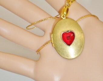 Vintage Valentine Red Crystal  Heart Locket Pendant Swarovski Victorian Serpentine Choker Necklace Victorian Art Nouveau Runway Statement