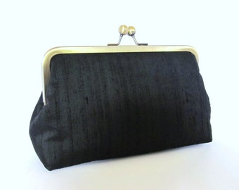 Classic Black Silk Dupioni Clutch,Bridal Accessories,Wedding Clutch,Bridesmaid Clutch, Bride Purse