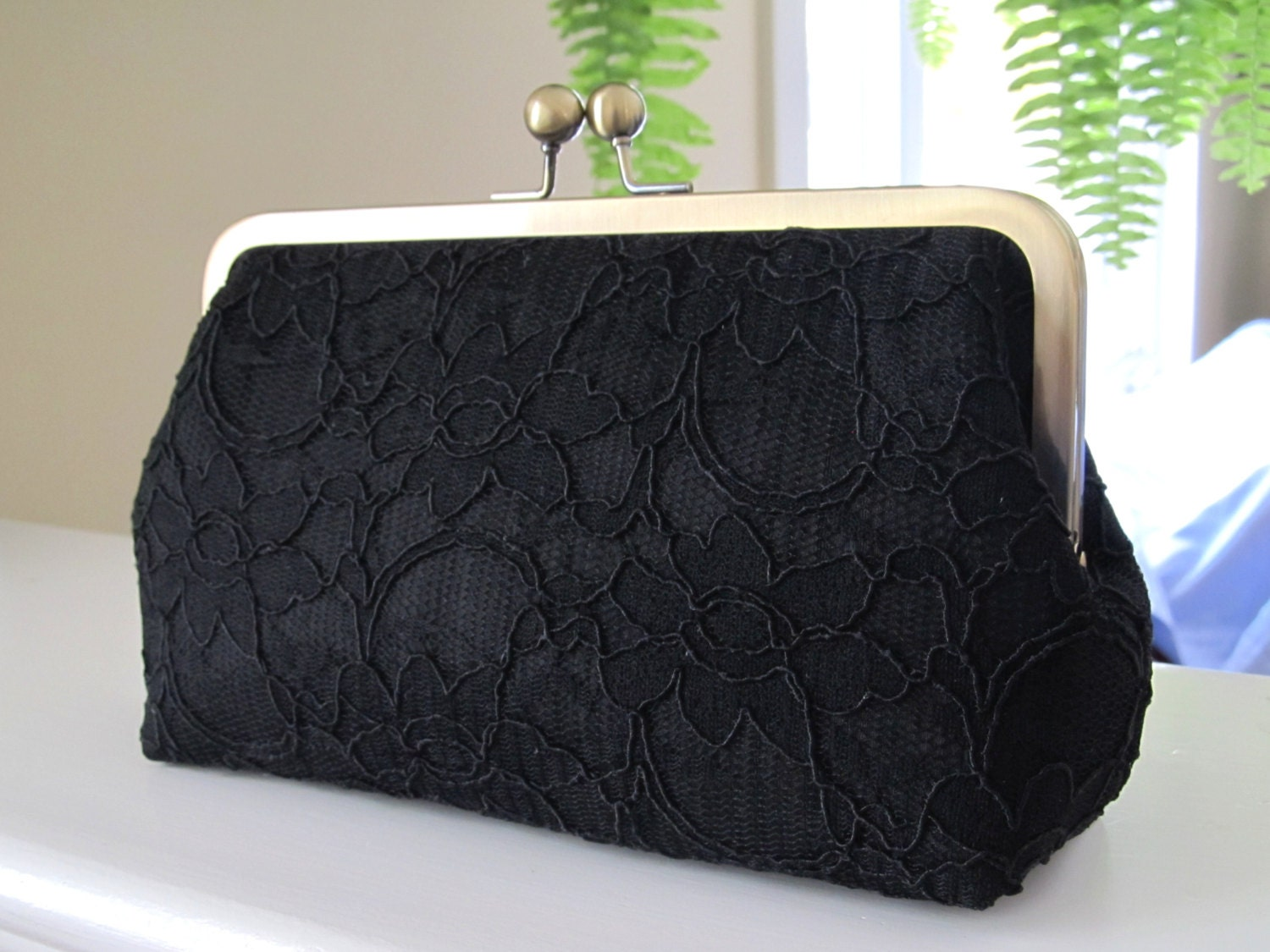 Bridal Silk And Lace Clutch Black,Bridal Accessories,Wedding Clutch,Bridal Clutch-Bridesmaid Clutches