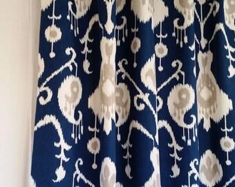 Extra long, two storey drapes,  Magnolia Home Java ikat NAVY BLUE, ivory, tan