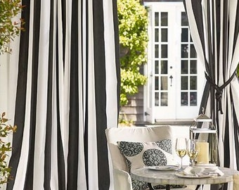 """Two Extra wide 75"""" width lined curtain panels, black and white vertical stripes"""