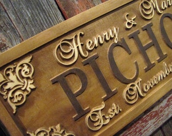 Christmas Gift, Personalized Family name sign last name sign Custom Personalized wedding gift Established family sign lovejoystore 3D wood