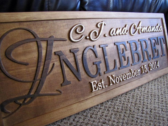 Wedding Gift Name Sign : Wedding Gift Personalized Family Name Signs custom CARVED Wooden Sign ...