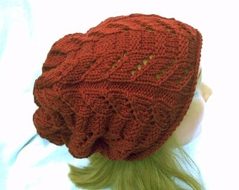 Slouch Hat Rust Copper Brown Totem Pole Lace Hand Knit Women Ladies Teens