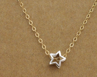 sterling silver star necklace with 14k gold filled chain, bridesmaid gift, - TINY STAR - delicate everyday wear, star necklace,