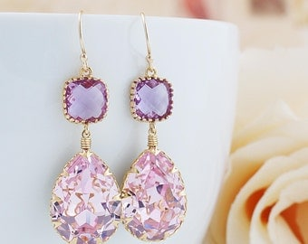 Rosaline Pink Swarovski Crystal GOLD FILLED Earrings - Dangle Earrings Pastel Earrings Weddings Bridesmaid Jewelry Bridesmaid Gift