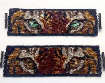 Tiger Eyes Beaded Peyote Cuff