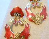 Enamel Pierced Moving Edger Berebi Earrings Excellent Condition Gold tone Burgundy Red