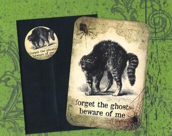 Halloween, Halloween Cards, Stickers, Black Cat Cards, Halloween Greeting