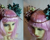 flower crown headpiece turquoise, cream and pink flower fairy faerie queen