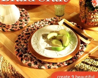 Braid Crafts Cottage Rag Rug Chair Seat Placemat Coaster Trivet Baskets Bottle Cozie Round Square Learn How to Make Craft Pattern Leaflet