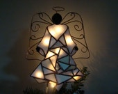 White Mosaic Angel of Lights - Christmas tree topper