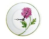 ON SALE!  Violet Chrysanthemum Wall Clock - Floral Wall Clock -  Kitchen Clock - Unique Wall Clock - Wall Decor - Plate Clock - 1441