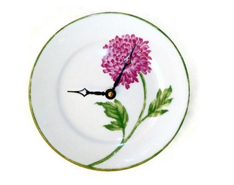 ON SALE!  Violet Chrysanthemum Wall Clock - Floral Wall Clock -  Kitchen Clock - Unique Wall Clock - Wall Decor - Plate Clock - 1441