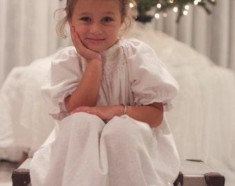 Sweet Dreams (coordinating line), monogrammed smocked flannel nightgown, size newborn-10 girls
