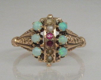 Antique Opal and Seed Pearl Ring - 14K Yellow Gold