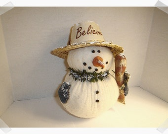 Snowman Decoration/Cotton Batting/ Handmade/Holiday Decoration**